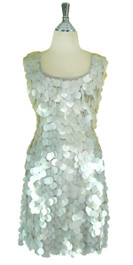 Short Handmade 30mm Paillette Hanging White Sequin Sleeveless Dress with U Neck front view