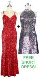 Long Red Handmade Sequin Dress with Free Short Silver Sequin Fabric Dress