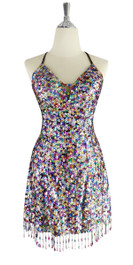 A short handmade sequin dress, in 8mm cupped mixed multicolored sequins with a straight, beaded hemline front view.  This gorgeous dress is in-stock and ready to ship. (You may order this dress in your own size with a making time of around 4 to 5 weeks, plus shipping time. Please contact us for more details of how to order in your own size.)  (MEASUREMENTS are shown as inches / cm) are:  SIZE: : US 6 / UK 8 / EUR 38    BUST: 36 / 92  WAIST: 28 / 72  HIPS: 39 / 100  G: (min top of shoulder to waist): 17 / 44        SKIRT LENGTH: 17 / 44  (from waist down)  Order slightly larger if unsure as you can adjust down in sizing with a seamstress local to you once your item arrives. (Normally we leave about 1 inch of fabric on inside seams to allow you to let an item out slightly.)   Lining: yes   Stretch: yes (1 to 2 inches across body)    Composition: P.E.T. sequins on 95% polyester 5% spandex base    Care: Cold water delicates or hand wash: test first. Dry flat. Do not iron.