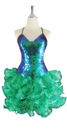 A short handmade sequin dress, in 10mm iridescent green fishscale sequins with emerald green organza ruffled skirt area front view .  This gorgeous dress is in-stock and ready to ship. (You may order this dress in your own size with a making time of around 4 to 5 weeks, plus shipping time. Please contact us for more details of how to order in your own size.)  (MEASUREMENTS are shown as inches / cm) are:  SIZE: : US 6 / UK 8 / EUR 38  BUST: 36 / 92  WAIST: 28 / 72  HIPS: 38 / 97  G: (min top of shoulder to waist): 17 / 44  SKIRT LENGTH: 17 / 44 (from waist down)  Order slightly larger if unsure as you can adjust down in sizing with a seamstress local to you once your item arrives. (Normally we leave about 1 inch of fabric on inside seams to allow you to let an item out slightly.)   Lining: yes   Stretch: yes (1 to 2 inches across body)    Composition: P.E.T. sequins on 95% polyester 5% spandex base    Care: Cold water delicates or hand wash: test first. Dry flat. Do not iron.
