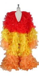 Long Organza Ruffle Coat with Long Sleeves and Highlight Sequins in Red, Yellow and Orange from SequinQueen.