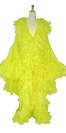 Long Organza Ruffle Coat with Oversized Sleeves and Highlight Sequins in Green from SequinQueen.