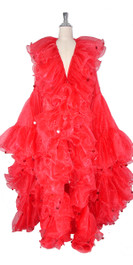 Long Organza Ruffle Coat with Oversized Sleeves and Highlight Sequins in Red from SequinQueen.