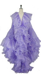 Long Organza Ruffle Coat with Oversized Sleeves and Highlight Sequins in Purple from SequinQueen.