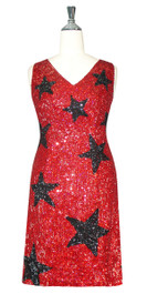 Short Handmade Star Patterned 8mm cupped Sequin Dress In Red and Black front view
