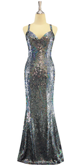A long handmade sequin dress, in iridescent grey 10mm flat sequins with beads front view