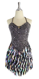 A short handmade sequin dress, with 10mm black fishscale sequins overlaid with silver faceted beads front view