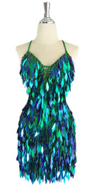 A short handmade sequin dress, in diamond-shaped iridescent green paillette sequins front view