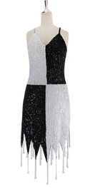A short handmade sequin dress, in 8mm cupped black and white sequins front view