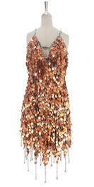 A short handmade sequin dress, in 20mm matt copper paillette sequins with silver faceted beads front view