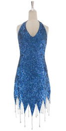 A short handmade sequin dress, in 8mm cupped metallic blue sequins with silver faceted beads front view