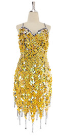 A short handmade sequin dress, in yellow pearl paillette sequins with silver beads front view