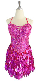 A short handmade sequin dress, with 10mm hologram fuchsia fishscale sequins front view