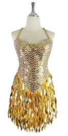 A short handmade sequin dress, with 10mm flat gold sequins with faceted silver beads front view