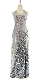 A long handmade sequin dress cut in a halter style, in metallic silver 8mm cupped sequins with silver paillette hanging sequin front view