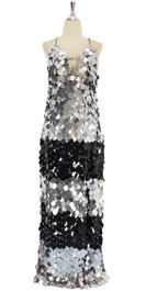 A long handmade sequin dress, in 30mm flat jumbo black and silver sequins front view
