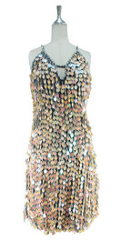 A short handmade sequin dress, in 20mm iridescent peach paillette sequins with silver faceted beads front view