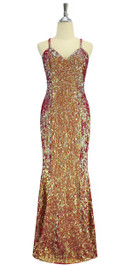 A long handmade sequin dress, in 8mm cupped iridescent red, orange and pale green sequins front view