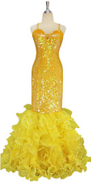 A long handmade sequin dress, in 10mm transparent yellow sequins with yellow seed beads front view
