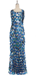 A long handmade sequin dress, in rectangular silver and hologram blue paillette sequins front view