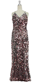 A long handmade sequin dress, in 20mm metallic pale pink paillette sequins with silver faceted beads front view