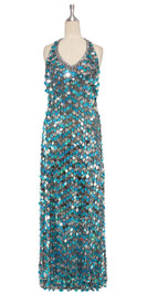 A long handmade sequin dress, in 20mm hologram turquoise paillette sequins with silver faceted beads front view