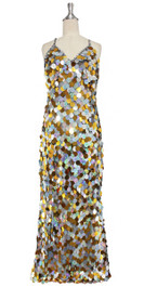 A long handmade sequin dress, in 30mm hologram silver  and gold mixed paillette sequins with silver faceted beads front view