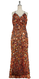 A long handmade sequin dress, in 20mm hologram copper-brown paillette sequins with silver faceted beads front view