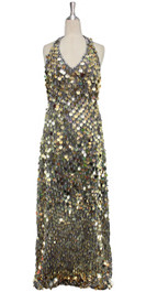 A long handmade sequin dress, in 20mm gold paillette sequins with silver faceted beads front view