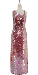 A long handmade sequin dress, in 10mm flat iridescent pink sequins front view