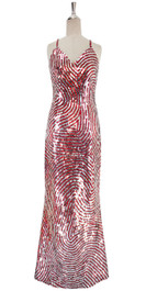 A long handmade sequin dress, in 10mm metallic red and silver sequins front view
