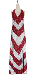 A long handmade sequin dress, in 8mm cupped red and silver sequins front view