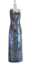 A long handmade sequin dress, in 10mm flat iridescent gray sequins front view