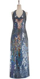 A long handmade sequin dress, in 8mm iridescent gray sequins front view