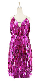 A short handmade sequin dress, in rectangular metallic fuchsia paillette sequins with silver faceted beads in front view
