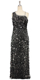 Long IN STOCK Handmade Metallic Sequin Dress, In Black Colour Sequins  This gorgeous dress is in-stock and ready to ship. (You may order this dress in your own size with a making time of around 4 to 5 weeks, plus shipping time. Please contact us for more details of how to order in your own size.)  SIZE: US 14 / UK 16 / EUR 46 (Measurements are shown as inches) BUST: 41 WAIST: 34 HIPS: 44 G: 20 (min top of shoulder to waist) LENGTH: 62 (from mid top of shoulder down front)  Order slightly larger if unsure as you can adjust down in sizing with a seamstress local to you once your item arrives. (Normally we leave about 1 inch of fabric on inside seams to allow you to let an item out slightly.)   Lining: yes   Stretch: yes (1 to 2 inches across body)    Composition: P.E.T. sequins on 95% polyester 5% spandex base    Care: Cold water delicates or hand wash: test first. Dry flat. Do not iron.