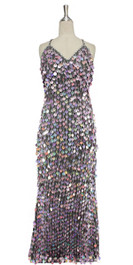 Long IN STOCK Handmade Hologram Sequin Dress, In Purple Colour Sequins  This gorgeous dress is in-stock and ready to ship. (You may order this dress in your own size with a making time of around 4 to 5 weeks, plus shipping time. Please contact us for more details of how to order in your own size.)  SIZE: US 14 / UK 16 / EUR 46 (Measurements are shown as inches) BUST: 41 WAIST: 34 HIPS: 44 G: 20 (min top of shoulder to waist) LENGTH: 62 (from mid top of shoulder down front)  Order slightly larger if unsure as you can adjust down in sizing with a seamstress local to you once your item arrives. (Normally we leave about 1 inch of fabric on inside seams to allow you to let an item out slightly.)   Lining: yes   Stretch: yes (1 to 2 inches across body)    Composition: P.E.T. sequins on 95% polyester 5% spandex base    Care: Cold water delicates or hand wash: test first. Dry flat. Do not iron.