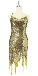 Short Gold Baroque Sequin Fabric Dress With Jagged Beaded Hemline Front View.