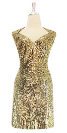 Short Gold Baroque Sequin Fabric Dress e Front View.