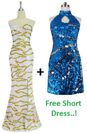 One Handmade Long Sequin Dress, In Flat 10mm Iridescent White Sequins and Get One Turquoise Sequin Fabric Short Dress Free