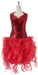 Short Red Sequin Fabric Dress With Red Strips Ruffle Skirt Front View