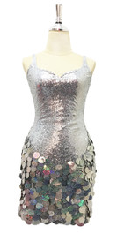 Short Silver Sequin Fabric Dress With Silver Hologram Sequin Skirt