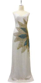 Long IN STOCK Handmade Dress In 8mm White Sequin Dress With Gold Beads And Blue Sequins Design