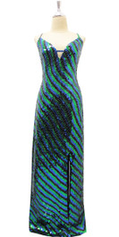 Long IN STOCK Handmade Dress In 8mm Green Black And Blue Sequins