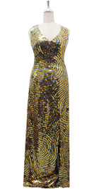 Long IN STOCK Handmade Dress In 8mm Gold And Black Sequins