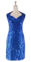 In-Stock Short Baroque Sequin Fabric Dress In Dark Blue