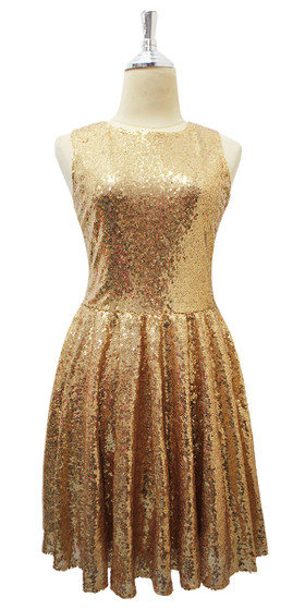 In-Stock Short  Sequin Fabric Dress In Gold