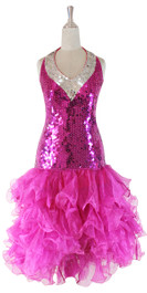 In-Stock Short Hand Made Sequin Dress In Fuchsia And Silver With Fuchsia Ruffle Skirt