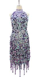 In-Stock Short Hand Made Sequin Dress In Iridescent Lilac Paillette Sequins With Silver Faceted Beads