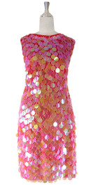 In-Stock Short Handmade Paillette Iridescent Pink Sequin Dress With Cowl Back